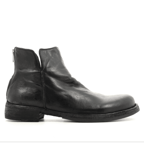 Bottines plates en cuir noir IKON/041 - Officine Creative