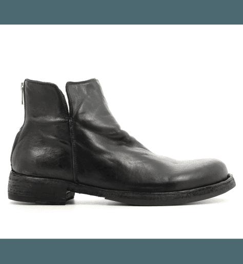 Bottines plates en cuir noir IKON/041 - Officine Creative pour hommes