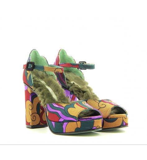 Sandales à talons en toile multicolore D90S2W- Paola D'Arcano