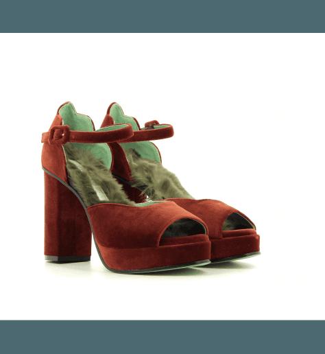 Sandales à talons en velours bordeaux D9072W- Paola D'Arcano