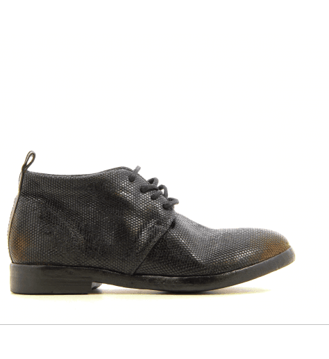 Bottines plates à lacets en cuir noir D92146 - Sartori Gold