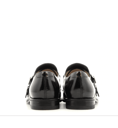 Mocassins en cuir glacé noir, franges vertes D011 - Henderson