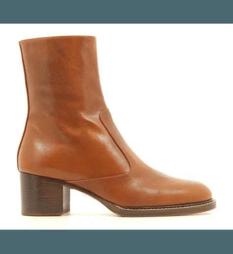 Bottines à talons moyens en cuir souple camel VB29013 - Véronique Branquinho