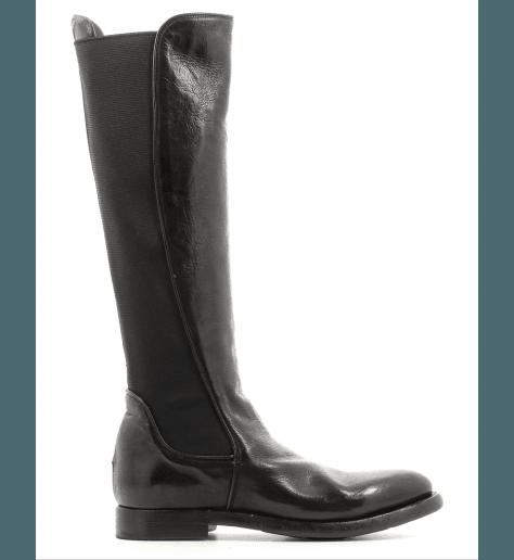 Bottes plates en cuir noir 4047- Silvano sassetti