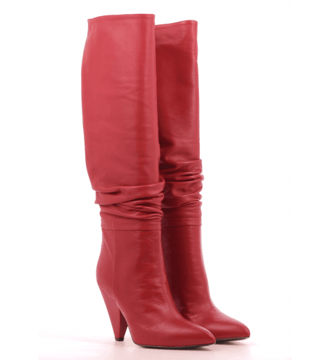 Bottes rouge en cuir  CO7249FR - Garrice Collection