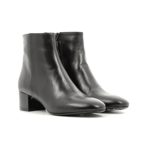Bottines petit talon en cuir noir G516NOIR - Garrice Collection