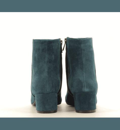 Bottines petit talon en cuir noir G516BLEU - Garrice Collection