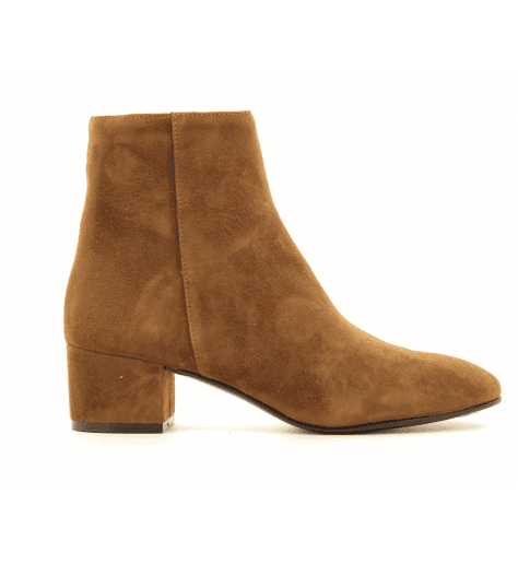 Bottines petit talon en veau velour camel G516CAMEL - Garrice Collection