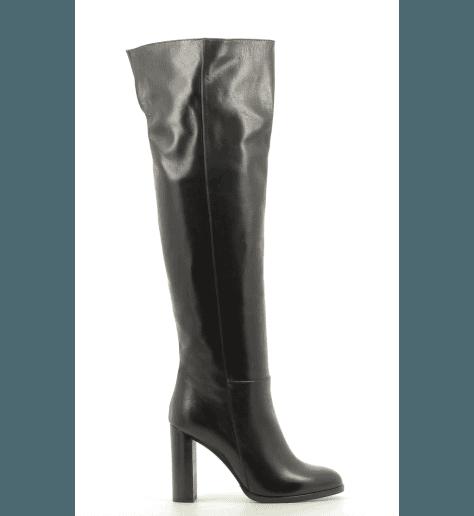 Bottes genouillères en cuir noir 6990CN - Garrice collection