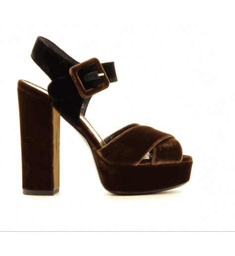 Sandales en velour cognac et noir 4539052B Deimille - Garrice Collection