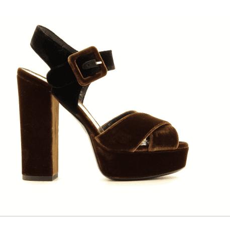 Sandales en velour cognac et noir 4539052B Deimille - Garrice Collection