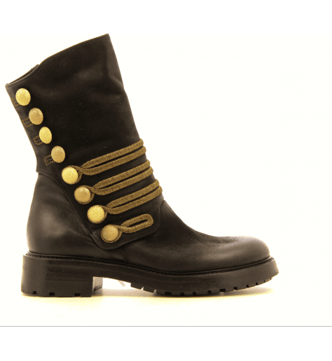 Bottines en cuir noir brodé or A3386 strategia - Garrice Collection