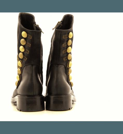 Bottines en cuir noir brodé or A3386 strategia - Garrice Collection