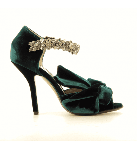 Sandales en velour vert avec strass 8479 - N21 shoes