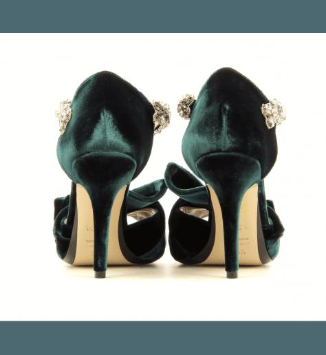 Sandales en velour vert avec strass 8479 - N21 shoes