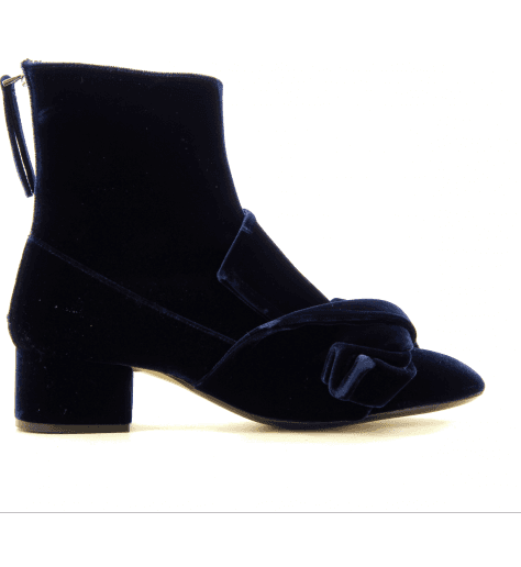 Bottines en velour marine avec noeuds 8415 - N21 shoes