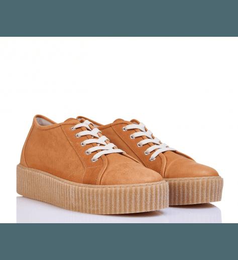 Sneakers en cuir camel à semelles épaisses S59WS0024/132 - MM6 Martin Margiela
