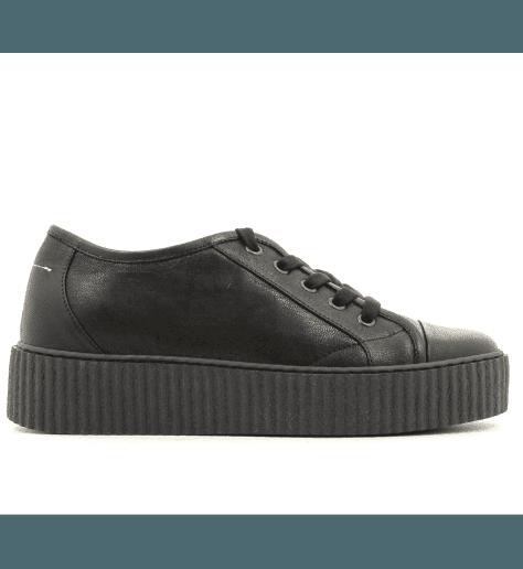 Sneakers en cuir noir à semelles épaisses S59WS0024/900 - MM6 Martin Margiela