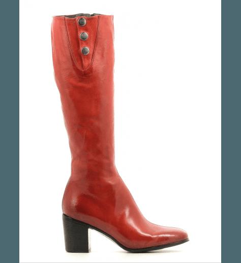 Bottes à talons en cuir rouge URSULA46048 - Alberto Fasciani