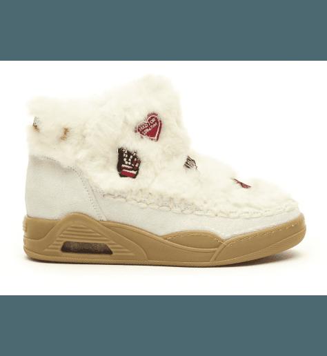 Boots fourrées blanc  MOON CUT LOW WIDE - Serafini