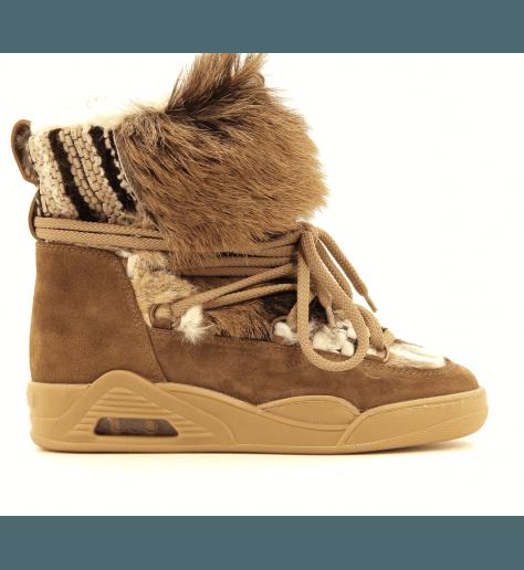 Boots fourrées camel MOON PATCHWORK FUR - Serafini