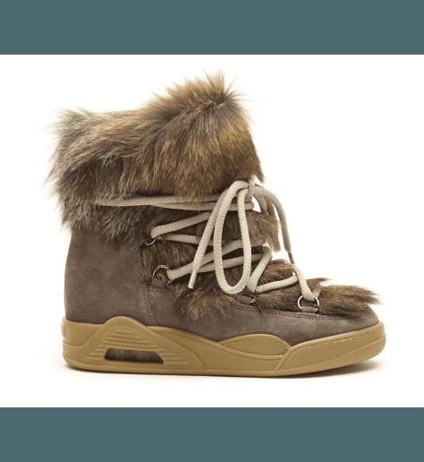 Boots fourrées taupe MOON MARMOT FUR - Serafini
