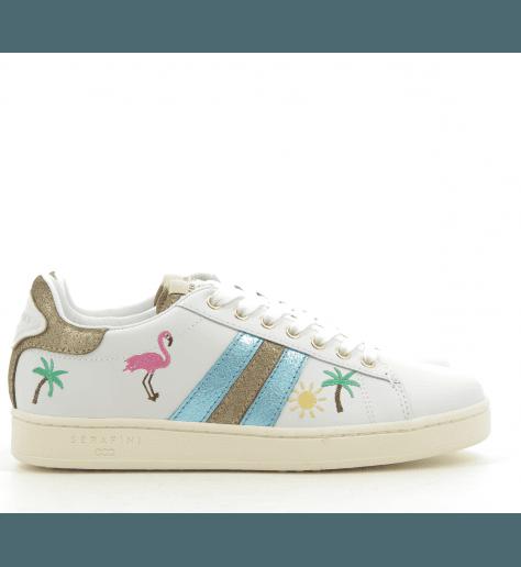 Sneakers Blanche et bleue JCONNORS TROPICAL - Serafini
