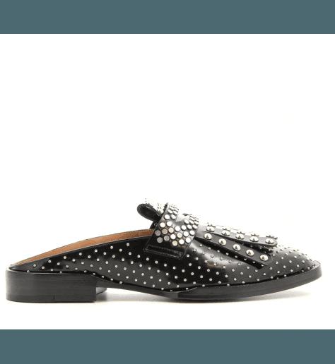 Mule cloutée en cuir noir YOULA - Robert Clergerie