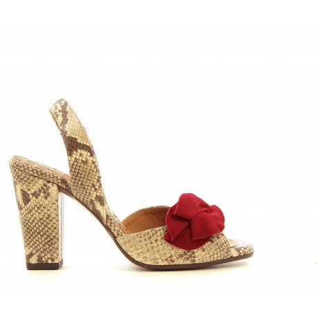 Sandales en cuir façon serpent avec fleur rouge ANAMI32 - Chie Mihara