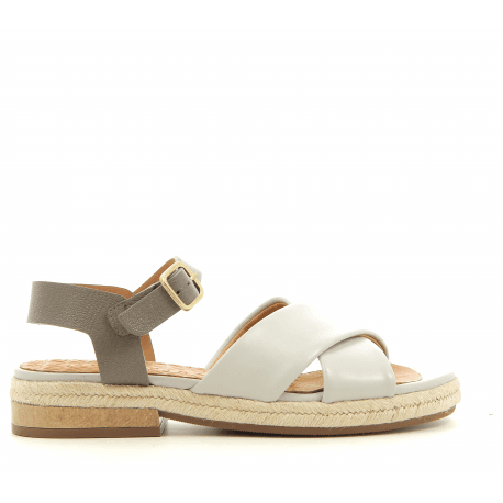 Sandales espadrilles plates gris perle HELP - Chie Mihara
