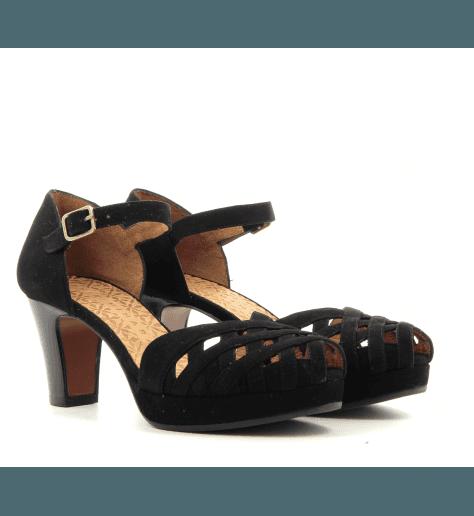 Escarpins petits talons en veau velour noir IRMA32- Chie Mihara