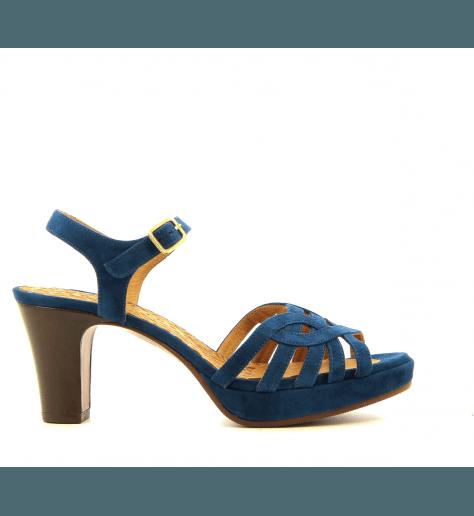 Sandales petits talons en veau velour marine INGA32- Chie Mihara