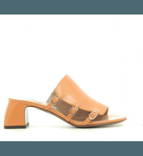 Mules petits talons en cuir orange LDG062 - L'autre chose