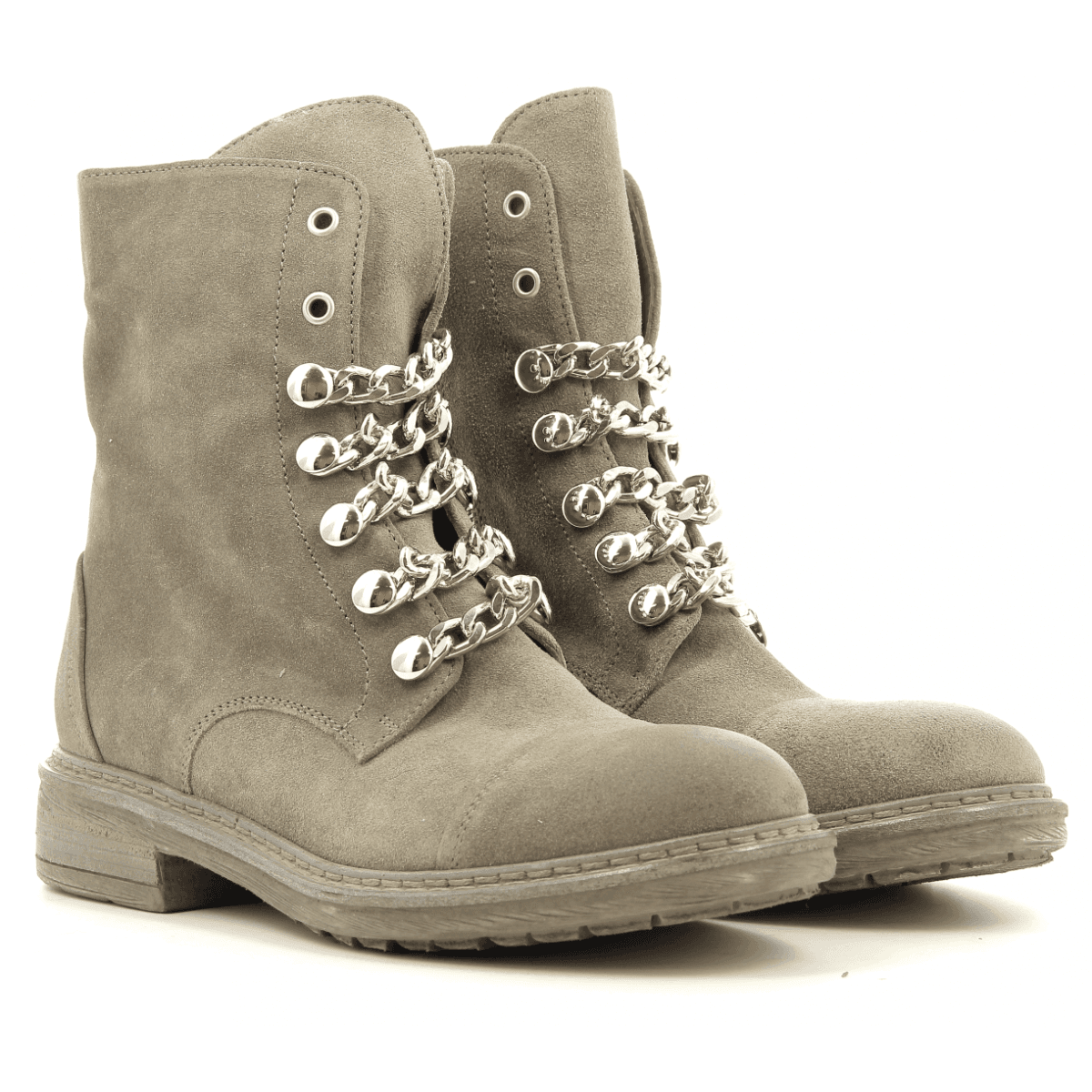 Bottines plates en veau velour taupe 4403 fruit now- Garrice Collection