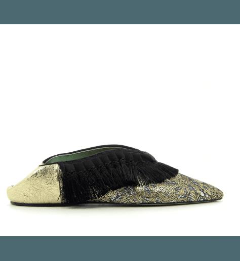 Mules style Babouche doré platine D1093- Paola D'Arcano