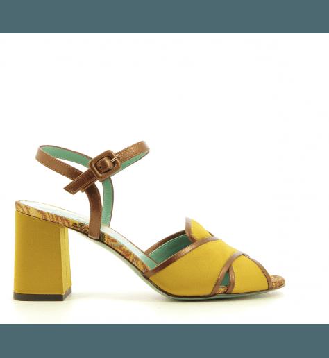 Sandales à talon en satin moutarde D1462 - Paola D'arcano