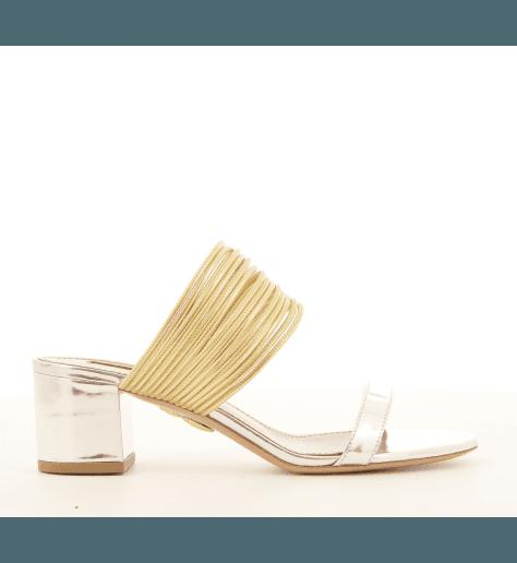 Sandales mules en cuir or et argent RENDEZ VOUS - Aquazzura