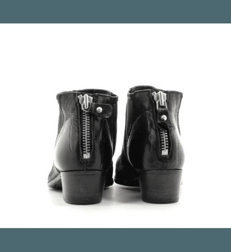 Bottines courtes ajourées en cuir vieilli noir 41806 - MOMA