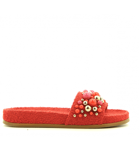 Mules à perles rouges BONBON POOL SLIDE RED - Aquazzura