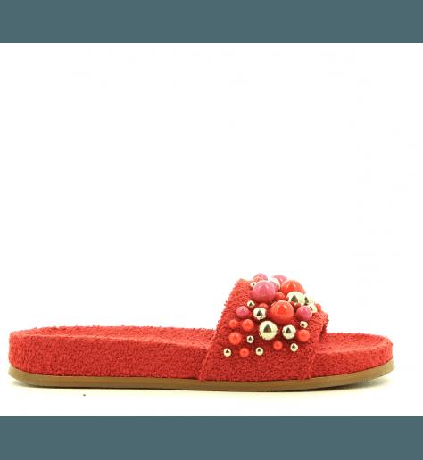 Mules à perles rouges BONBON POOL SLIDE RED - Aquazzura