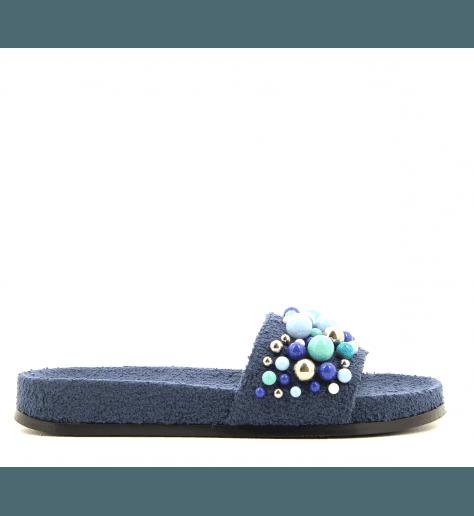 Mules à perles Bleues BONBON POOL SLIDE Navy- Aquazzura