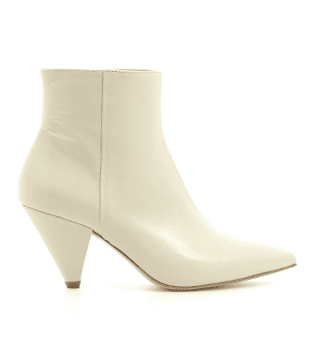 Bottines en cuir ivoire IL660SA - Garrice Collection
