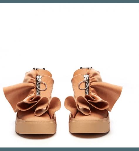 Sneakers en satin rose poudré à fronces Vic matie - 6226