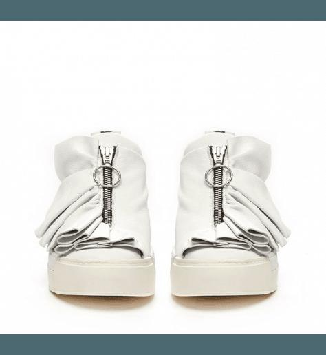 Sneakers en cuir blanc à fronces Vic matie - 6227
