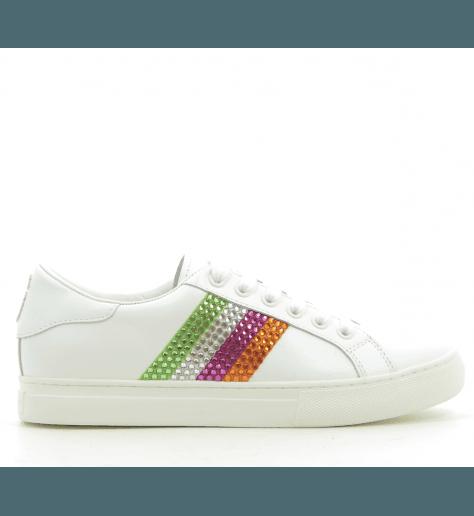 Sneakers en cuir blanc bande strassée EMPIRE LOW SNEAKER - Marc Jacobs