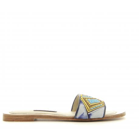 Sandales en suede bleu BIZI SLIDE - Meher Kakalia