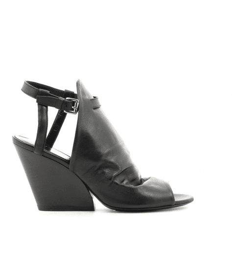 Sandales à talon structuré en cuir noir strategia jfk E3209N - Garrice Collection