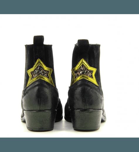 Bottines en suede noir étoilées strategia E1223- Garrice Collection