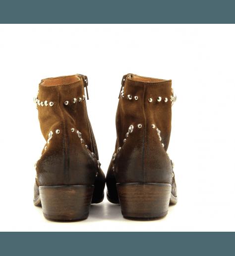 Bottines en suede cognac et incrustations strategia E1463 - Garrice Collection