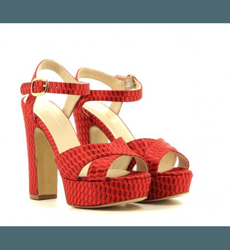 Sandales à talons en tissu rouge strategia PE4965 - Garrice Collection